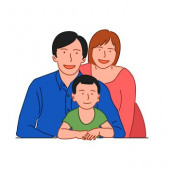 5b13781ee Happy family concept. Dad mom and son. Hand drawn style doodle design  illustration